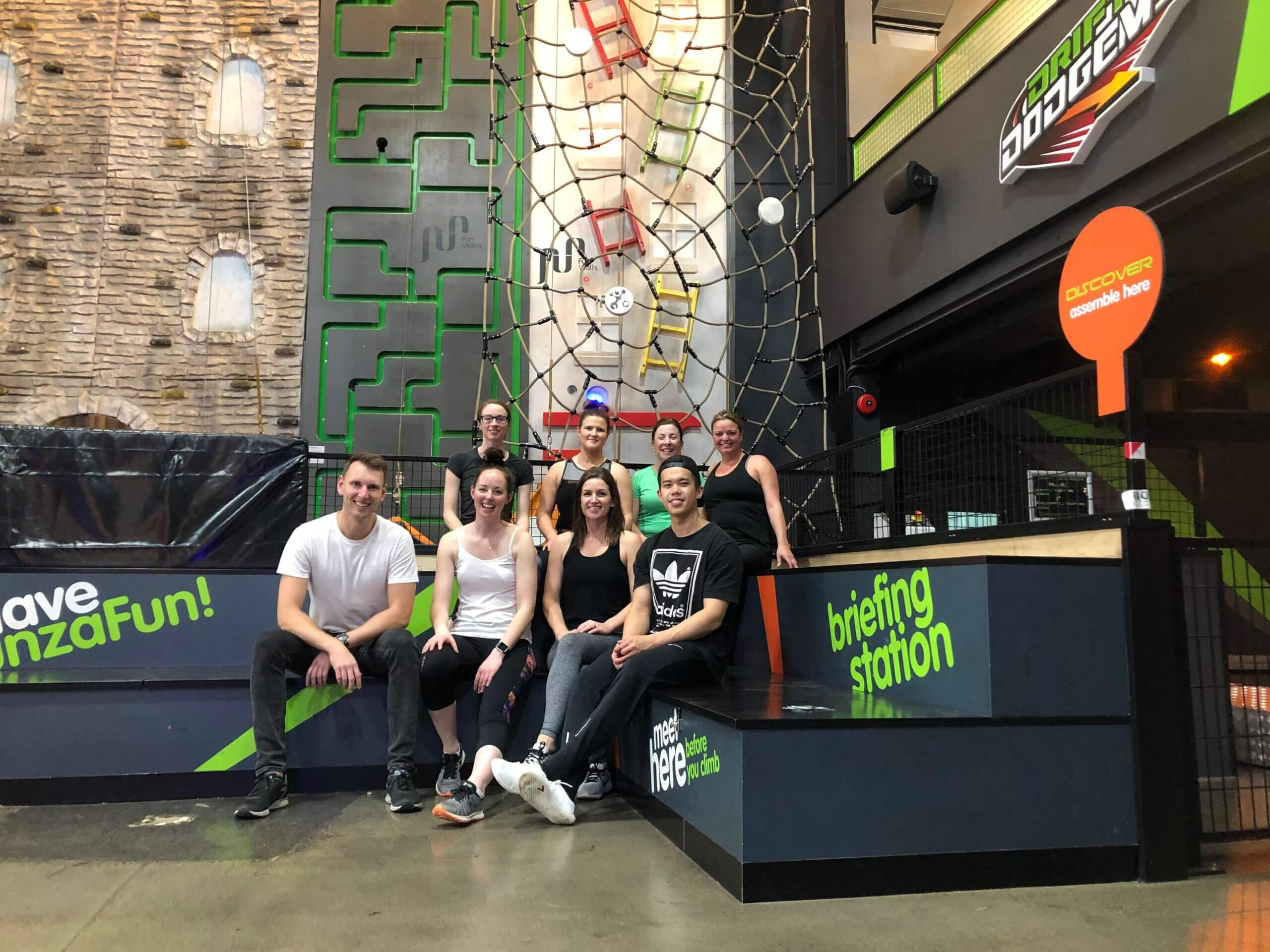 Pathways team at rock climbing
